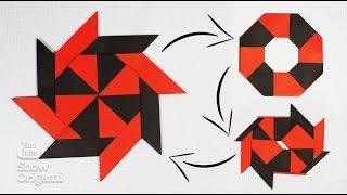 Сюрикен. Как сделать Ниндзя Звезду-трансформер из бумаги - Движущаяся оригами игрушка