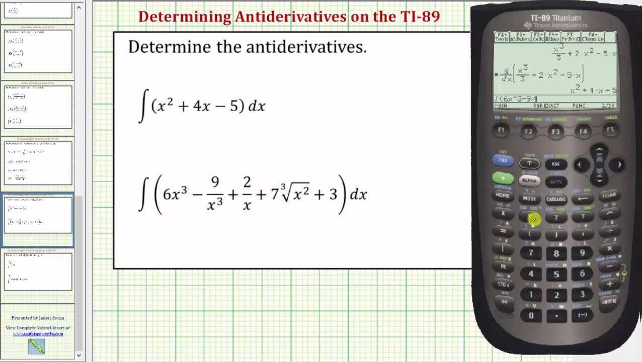 Determine Antiderivatives Indefinite Integrals On The Ti 89 Youtube