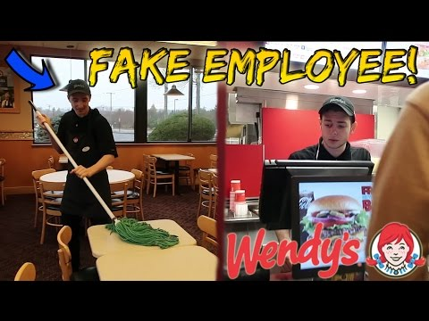 FAKE WENDY'S EMPLOYEE PRANK! (BEHIND THE COUNTER)