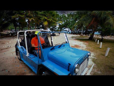 Seychelles Rain Driving a MOKE around Praslin by Tropical Is