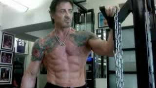 Sylvester Stallone 62 years old training