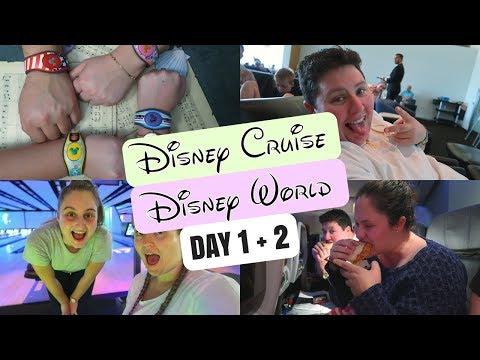 DISNEY CRUISE + DISNEY WORLD VLOGS 2017   DAY 1 + 2   TRAVEL DAYS 🛫