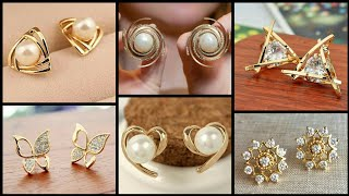 Outstanding and latest designs of Gold stud earrings - Gold Pearl Latest Stud earrings designs 2020