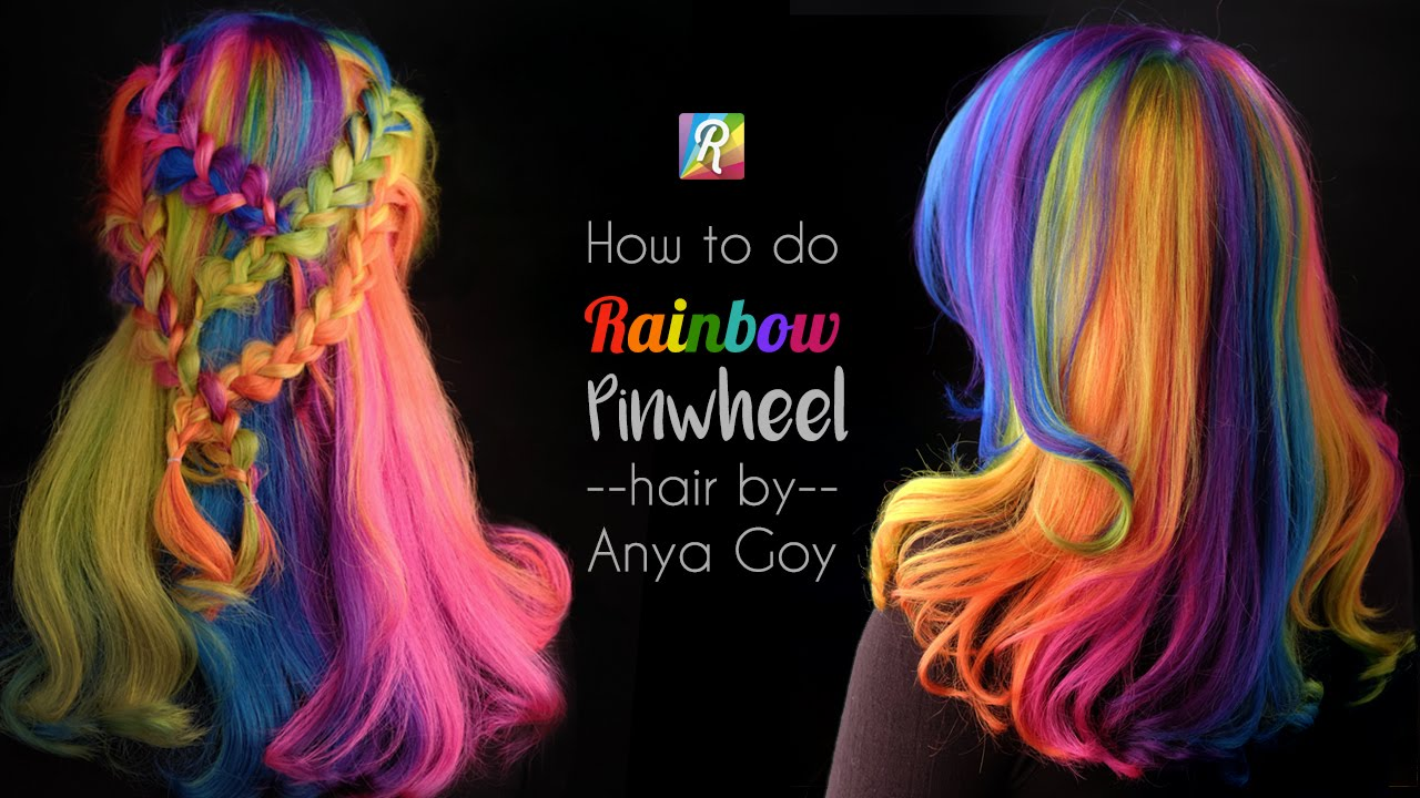 How To Do Rainbow Hair Pinwheel With A Twist By Anya Goy