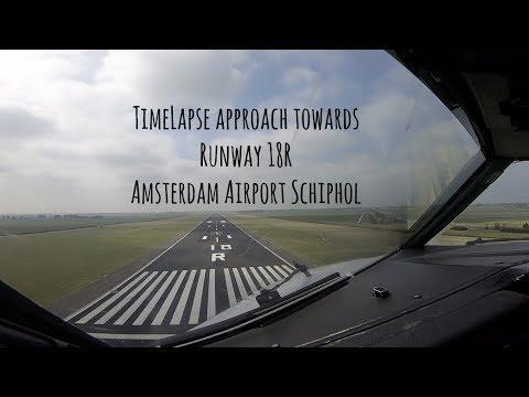 TimeLapse towards runway 18R Amsterdam Airport Schiphol (AMS EHAM)