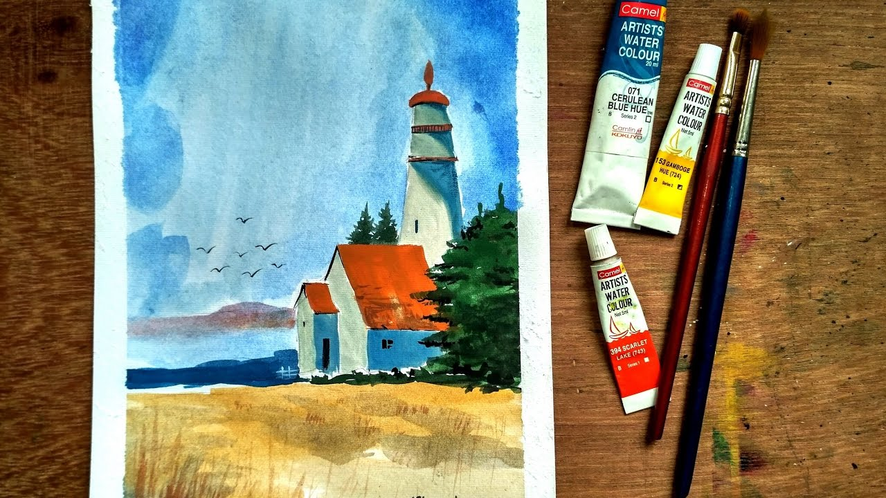 beginners watercolor how to paint house landscape paint with