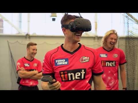 The Sydney Sixers try Virtual Reality Batting with the Daily Telegraph Six for a 6