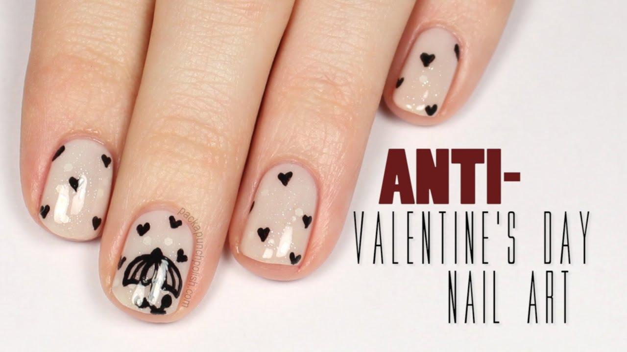 Anti-Valentine's Day Nail Art Tutorial | PackAPunchPolish ...