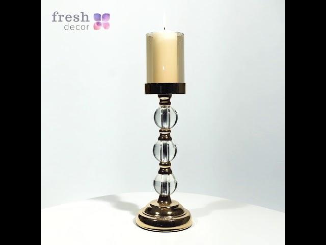 Подсвечник золотой рассчитанный на одну большую свечу с  3 шариками из стекла на ножке продажа
