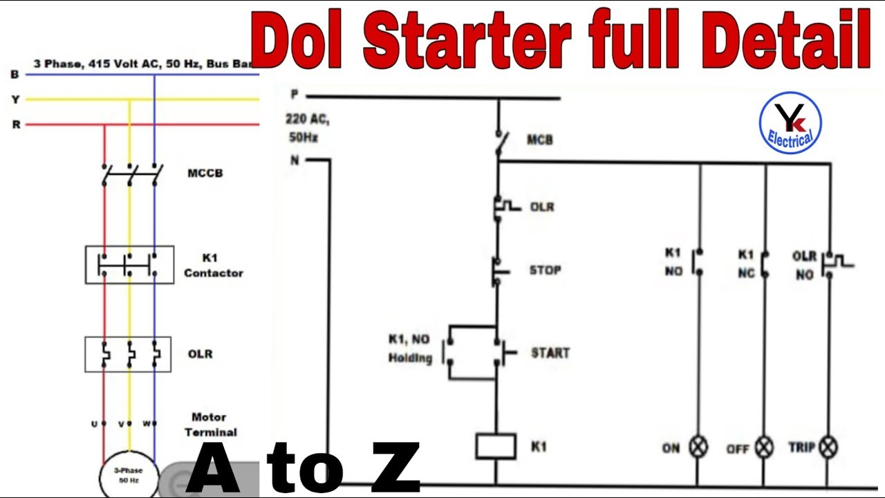 Dol Starter Control And Power Diagram By Yk Electrical