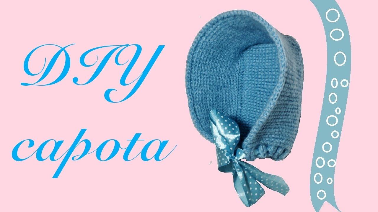 Cómo tejer capota o gorro de bebé en crochet tunecino - YouTube