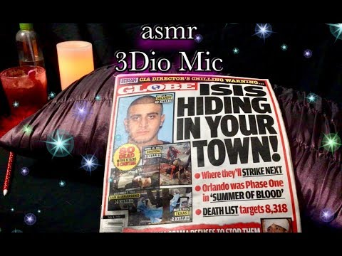 Relaxing ASMR gentle read The Globe Tabloid 3Dio Binaural Mic, gentle page turning, gum chewing