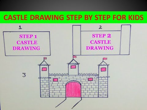 How To Draw a Castle || VERY EASY CASTLE DRAWING FOR KIDS||STEP BY STEP CASTLE DRAWING PAGE||