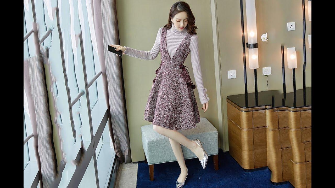 set váy áo len cao cổ mùa thu đông mới 2019 | BOSUMY