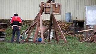 Our Trebuchet Launches An Exploding Pumpkin