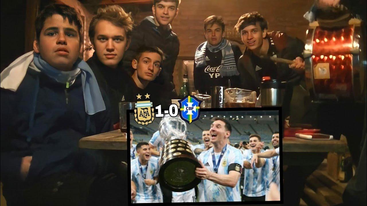 ARGENTINA CAMPEÓN   Argentina vs Brasil 1-0 - Final Copa América 2021 (REACCIONES DE HINCHAS)