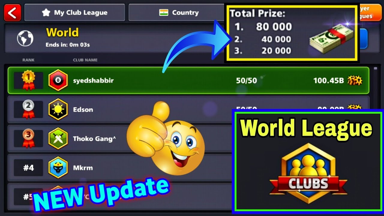 World Top With New Club Feature In 8 Ball Pool - Club World🌍 League Top  Spacial -