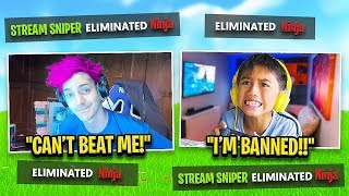 14 Year Old Stream Sniped Ninja and got BANNED on Fortnite
