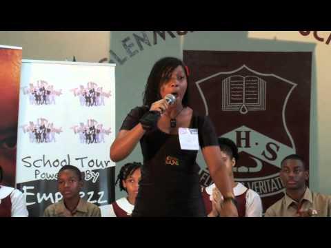 Gabeena  Teenage Dub Poet performing at Glen Muir High School