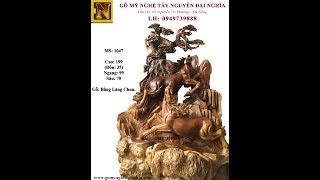 Tượng Song Mã Uyên Ương Gỗ Nu Bằng Lăng Chun (MS: 1047)