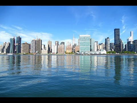 Manhattan Skyline and East River, New York City Waterfront, 4K Video