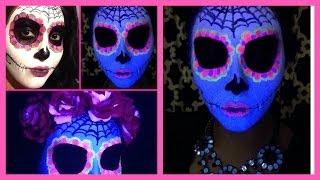 Sugar Skull Day of the Dead Makeup   Black Light   Halloween Glow in the Dark