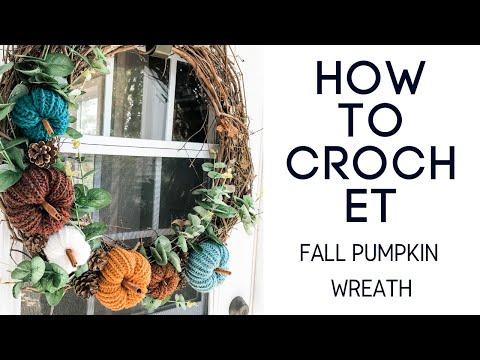 Crochet Fall Wreath - Easy pumpkin wreath tutorial