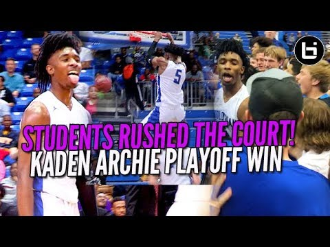 STUDENTS RUSHED THE FLOOR! KADEN ARCHIE EPIC PLAYOFF WIN! Ballislife Highlights