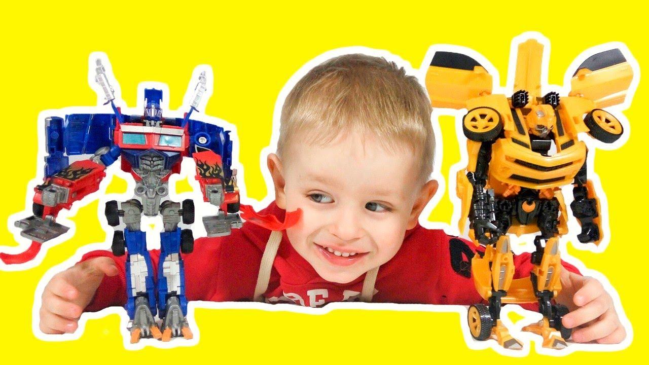 Трансформеры игрушки Роботы автоботы Прайм и Бамблби Видео для детей Оптимус прайм против мегатрона