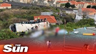 Madeira bus crash: CCTV shows bus toppling off road