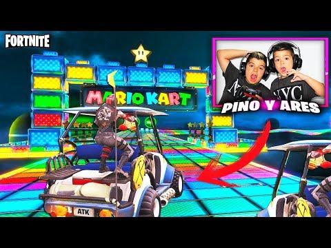 CARRERA ARCOIRIS  MARIOKART EN FORTNITE!!! PINO vs ARES/ Modo Creativo