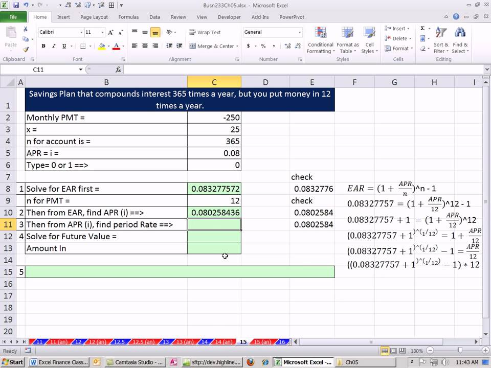 Create Time Value of Money Tables in Excel