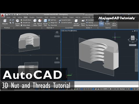 AutoCAD 3D Nut and Threads Tutorial