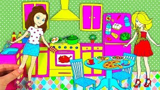 Paper Dolls ☕ Jolly Sisters Morning Routine & Playing Paper Toy Kitchen