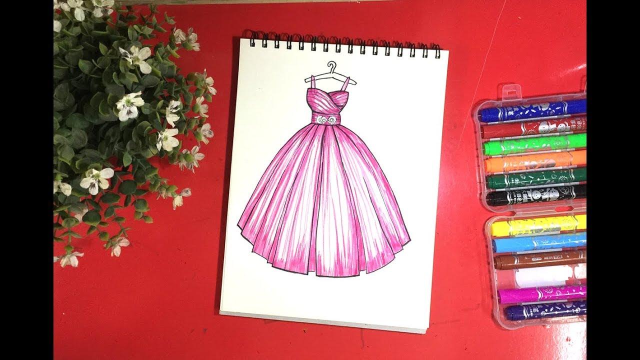 Vẽ váy cưới cô dâu   How to draw a wedding dress 4   Dạy bé học