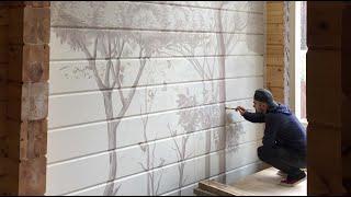Роспись стен в деревянном доме