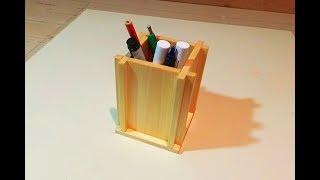 как сделать подставку для карандашей из дерева - DIY. Сделай сам с Арсением Кулаковым