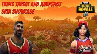 "Fortnite:Battle Royale ""Jumpshot"" and ""Triple Threat"" Skin Gameplay - New Fortnite Skins Showcase"