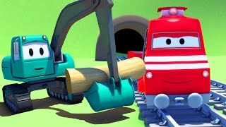 troy the train and the excavator in car city  cars trucks cartoon for children