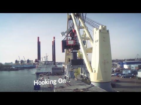SAL Shipping: MV Lone, Loading fully erected TUKAN cranes