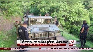 Policías y civiles armados se enfrentaron en Nocupétaro, Michoacán