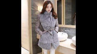 Женская зимняя куртка с кроличьим мехом тонкая теплая куртка длинная элегантная верхняя одежда