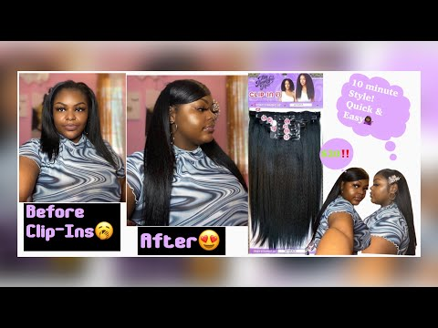 90's Inspired Swoop bang FT. Outre 'BIG BEAUTIFUL HAIR' Kinky Straight Clip-In's