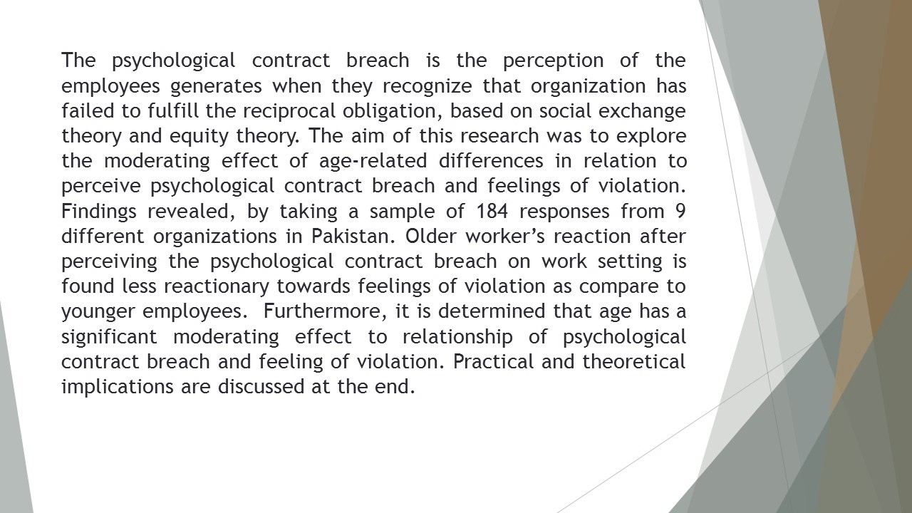 Psychological Contract Breach And Feelings Of Violation Moderatring