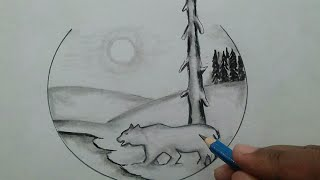 Drawing beautiful scenery of nature step by step / nature scenery pencil