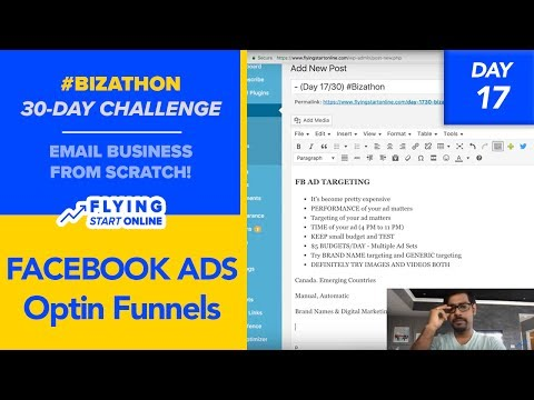 Facebook Ad Strategies For Optin Funnels - (Day 17/30) #Biza