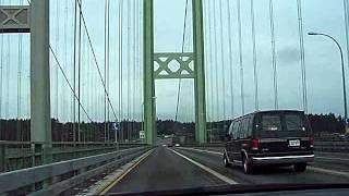 Driving Across New Tacoma Narrows Suspension Bridge Tacoma Seattle Washington