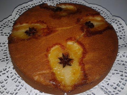 gâteau-au-yaourt-et-aux-poires-caramélisées-/-كيكة-بالياغورت-و-الأجاص