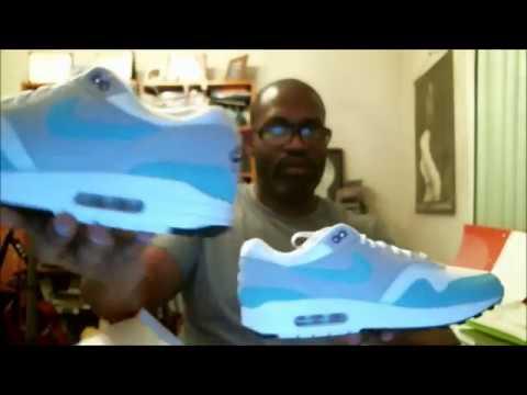 Nike Air Max 1 Anniversary OG Aqua White Blue Men Running Shoes 908375 105 8