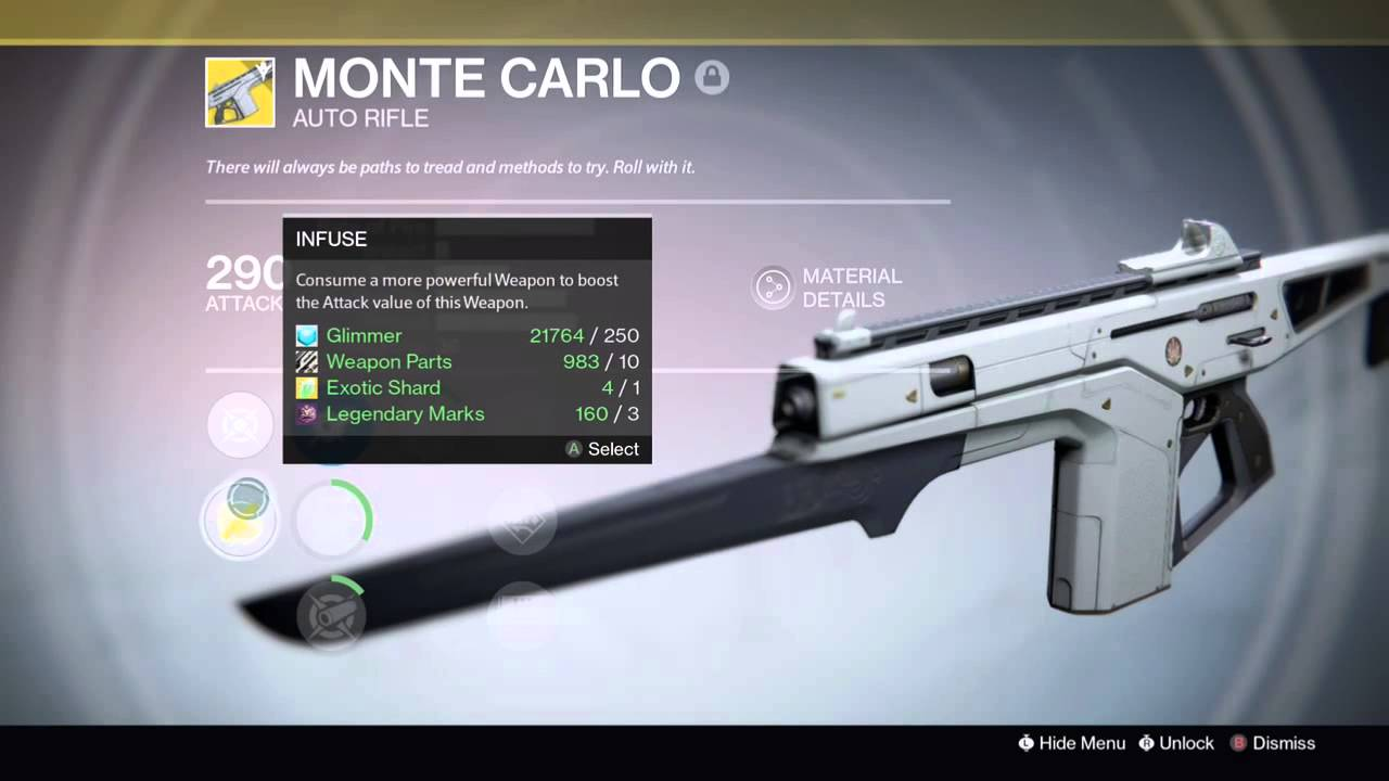 destiny exotic arsenal monte carlo year 1 playstation exclusive